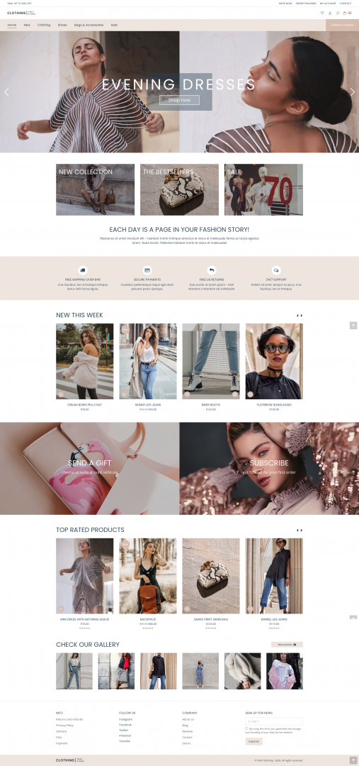 online clothing store webpage