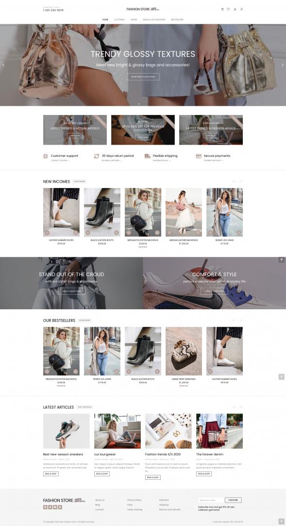 online fashion store webpage