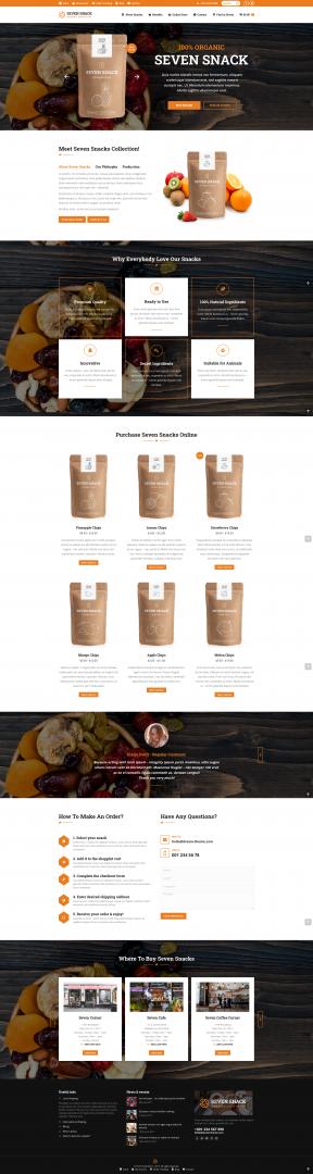 online organic snakcs store webpage